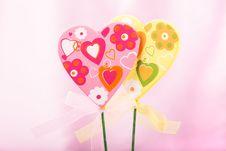 Free Pink And Yellow Handmade Hearts Stock Photos - 36533443