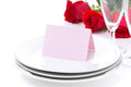 Free Card For Congratulation On A Plate, Roses And Glasses Royalty Free Stock Photos - 36542848