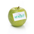 Free Green Apple And Label With The Word Healthy, Isolated Stock Photography - 36542992