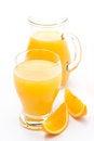 Free Glass And Jug Of Orange Juice And Fresh Orange Slices Royalty Free Stock Photo - 36542995