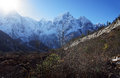 Free The Sun In The Snowy Mountain Peaks Of Nepal Royalty Free Stock Photos - 36544498