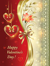 Free Romantic Postcard With Floral Ornament And Hearts Stock Images - 36548614