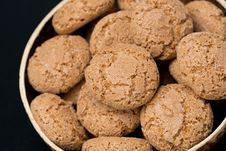 Free Biscotti Cookies In A Bowl On A Black Background, Close-up Royalty Free Stock Image - 36542786