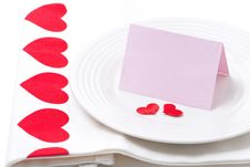 Card For Congratulation On A Plate For Valentine S Day Royalty Free Stock Photo
