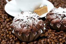 Free Chocolate Muffin And Cappuccino On Coffee Beans Stock Image - 36542911