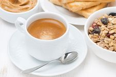 Free Freshly Brewed Espresso And Muesli For Breakfast Royalty Free Stock Image - 36542986