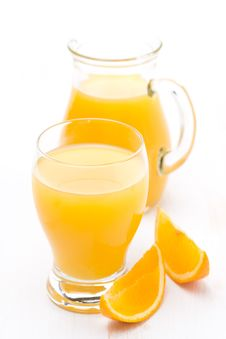 Free Glass And Jug Of Orange Juice And Fresh Orange Slices Royalty Free Stock Photo - 36542995