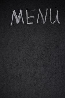 Menu Title Is Written White Chalk On A Blackboard Royalty Free Stock Photos