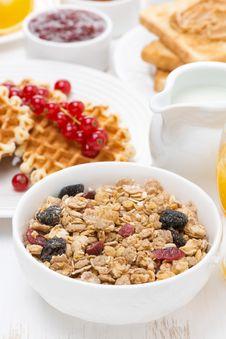 Free Muesli Waffles With Berries, Jams, Milk For Breakfast Stock Photography - 36543032
