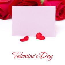 Free Pink Card For Greetings, Hearts And Roses, Isolated Stock Photo - 36543060