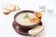 Potato Cream Soup With Glazed Shrimp And Bread In A Bowl Royalty Free Stock Photo