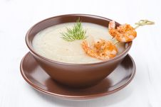 Free Potato Cream Soup With Glazed Shrimp On A Skewer, Close-up Stock Photos - 36543073