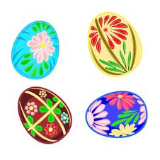 Easter Eggs With Floral Pattern Royalty Free Stock Image
