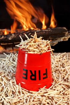 Free Fire Bucket, Matches And Flames Royalty Free Stock Photography - 36544207