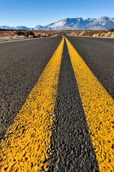 Double Yellow Lines In Middle Of Road Stock Image