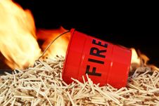 Free Fire Bucket, Matches And Flames Royalty Free Stock Image - 36545376