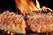 Grilled Beef  Steak  And Rib Steak Stock Images