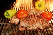Free Two Grilled Beef Steaks With Vegetables XXXL Stock Photos - 36547233