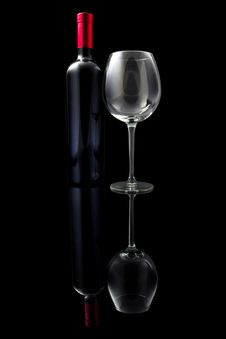 Red Wine And Empty Glass Stock Image