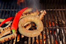 Free Grilled Sausages  XXXL Royalty Free Stock Photo - 36548185