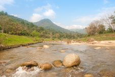 Landscape With A Mountain River Royalty Free Stock Photo