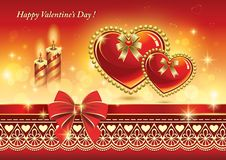 Free Romantic Card With Hearts And Candles For Valentin Royalty Free Stock Photos - 36548718