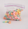 Free Candy Hearts In A Bag Royalty Free Stock Photo - 36556565