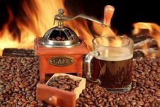Free Hot Mug Of Coffee By The Fire Royalty Free Stock Photos - 36551378