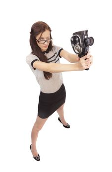 Free Girl With Old Movie Camera Royalty Free Stock Images - 36554819