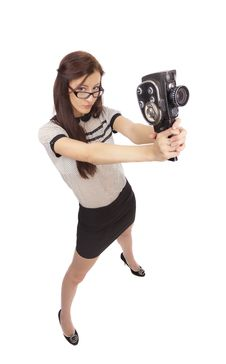Free Girl With Old Movie Camera Stock Photos - 36554893