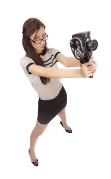 Free Girl With Old Movie Camera Stock Photo - 36554900