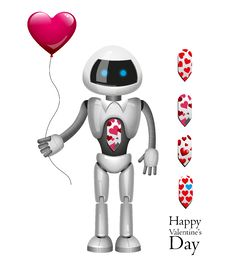 Robot With Balloon Heart. Vector Royalty Free Stock Images