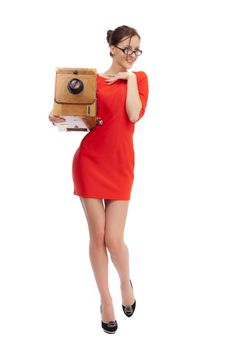 Free Girl In Red Dress Stock Images - 36555414