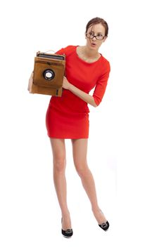 Free Girl In Red Dress Stock Images - 36555444