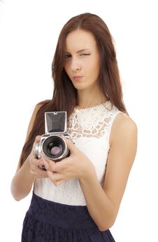 Free Girl With An Old Camera Stock Photography - 36557472