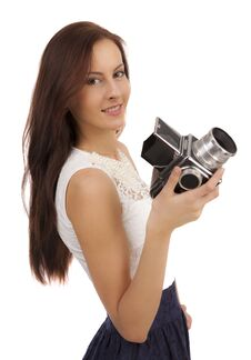 Free Girl With An Old Camera Stock Images - 36557534