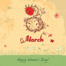 Free Women S Day March 8 Vintage Card Royalty Free Stock Photo - 36557585