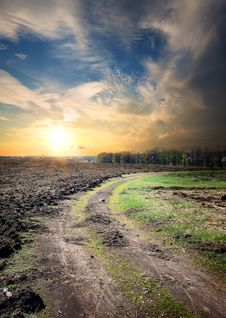 Free Country Road Through The Plowed Field Royalty Free Stock Photos - 36558378