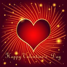Free Postcard On Valentines Day With Hearts Of Gold Col Stock Image - 36559531