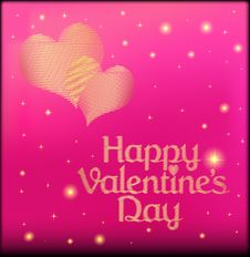 Free Pink Postcard On Valentines Day With The Heart Of Royalty Free Stock Photos - 36559668