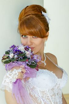 Free Portrait  Redhead Charming Bride Royalty Free Stock Photos - 36560158