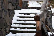 Free Stairs Covered By Snow Stock Photos - 36561953