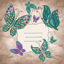 Free Vector Background With Butterfly Stock Image - 36564881