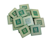 Free Heap Of Old Unused CPU Processors Royalty Free Stock Image - 36565736