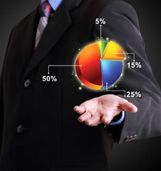 Free Business Man Showing Pie Chart Royalty Free Stock Photos - 36569308