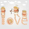 Free Card For With Cute Cupids Stock Photography - 36575642