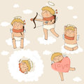 Free Set Of Cute Cupids In Vector. Stock Image - 36575671