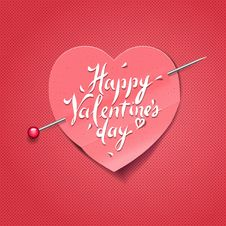 Valentine S Day Card With Paper Heart Shaped Stock Photos
