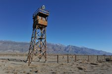 Free Wooden Guard Tower In Desert By Mountains Stock Images - 36571724