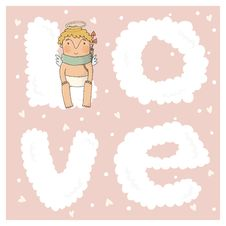 Free Card For With Cute Cupids Stock Photography - 36575662